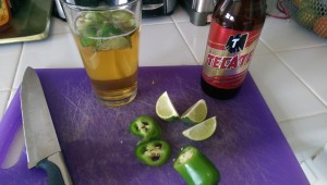 Beer with fresh jalapeno and lime